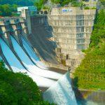 薗原ダムの点検放流を見学