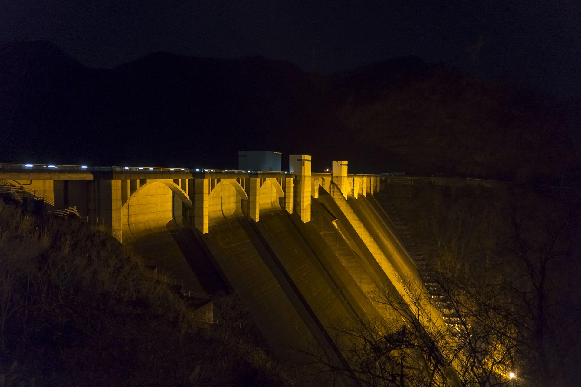 浦山ダムのライトアップ《2017年12月》