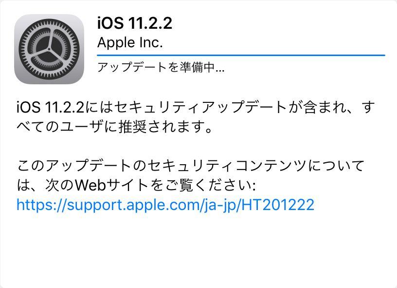 iPad mini 4をiOS11.2.2へアップデート