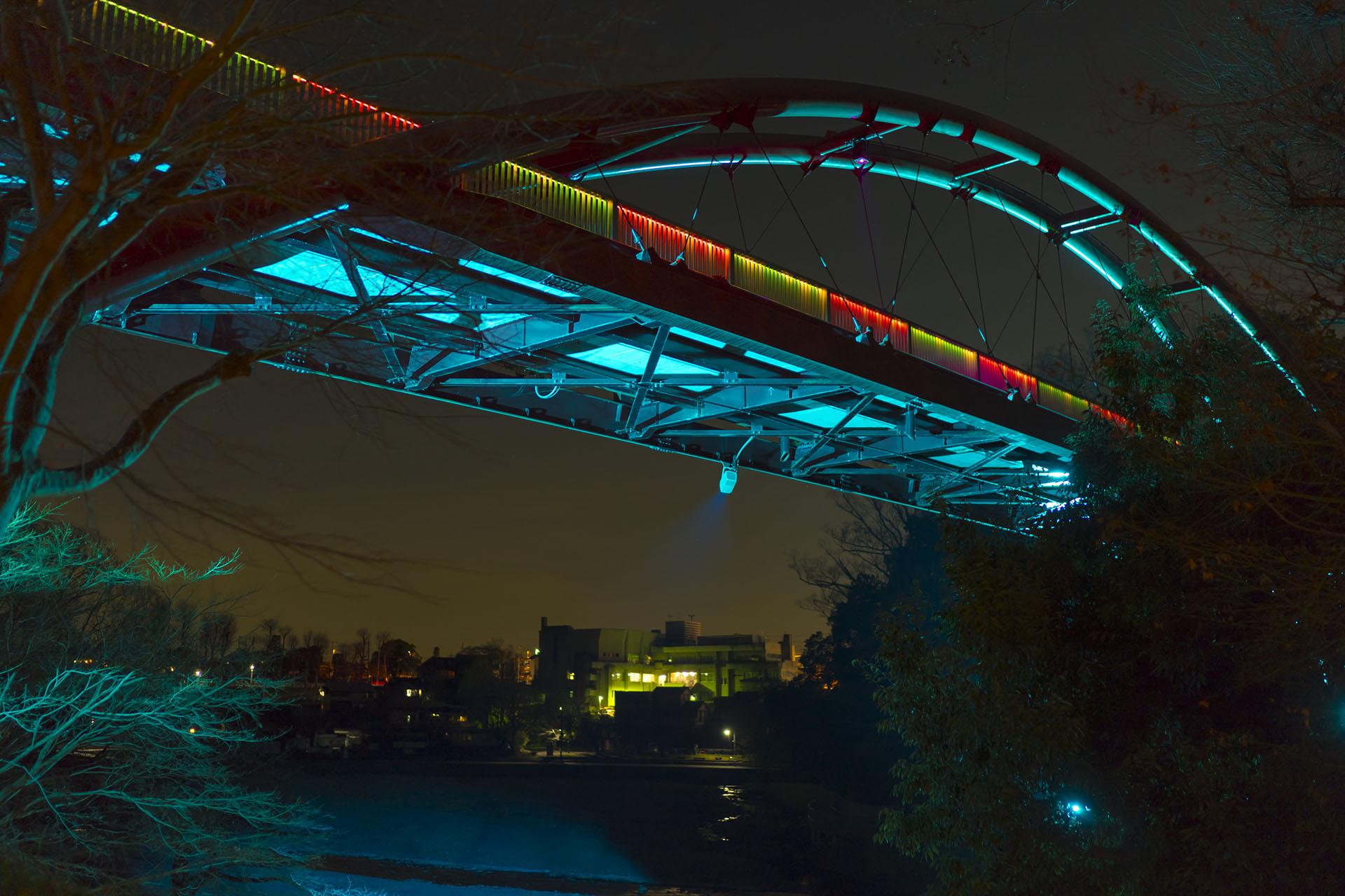 飯能河原の割岩橋ライトアップ Xmas特別ver 2018