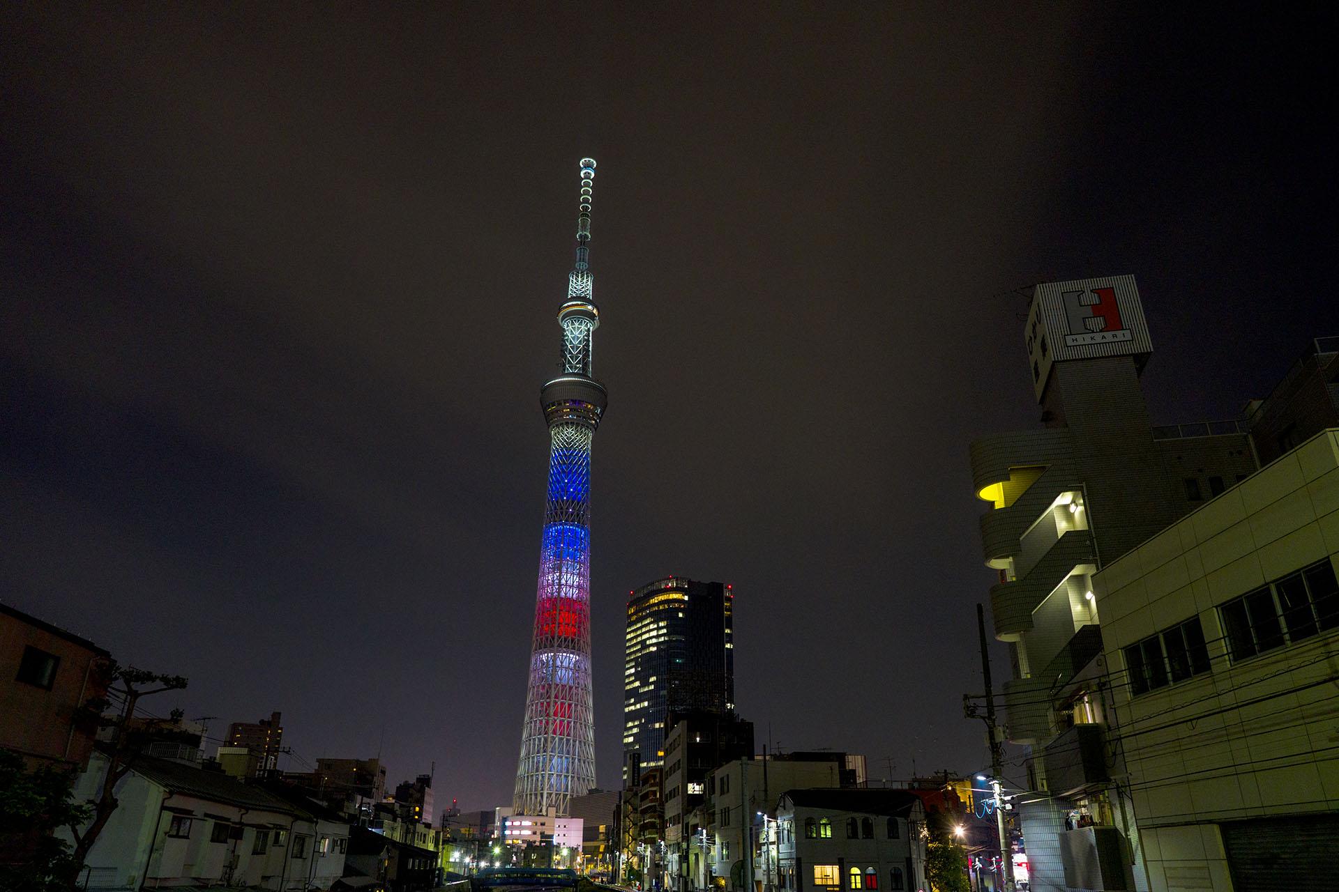 トランプ米大統領来日で星条旗色になった東京スカイツリー