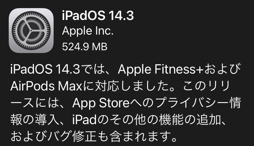 iPad mini 5をiPadOS 14.3へアップデート